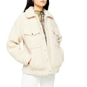 TOPSHOP Borg Western Sherpa Snap Button Teddy Casual Jacket